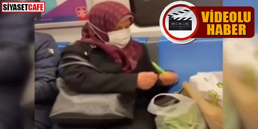 Metroda fasulye ayıklayan teyze sosyal medyada gündem oldu