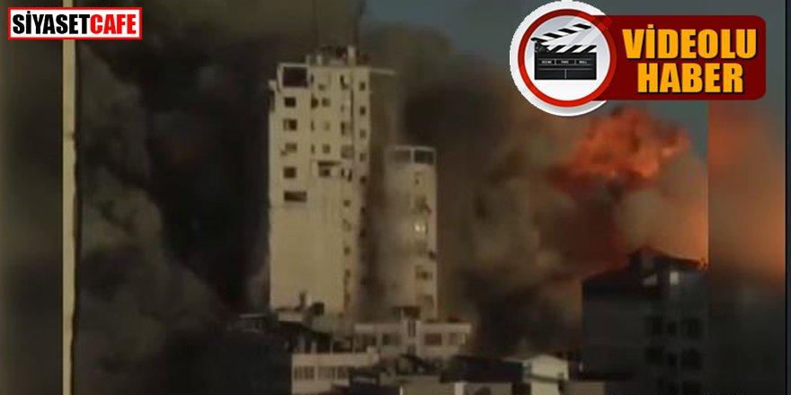 İsrail Gazze'de 14 katlı binayı vurdu