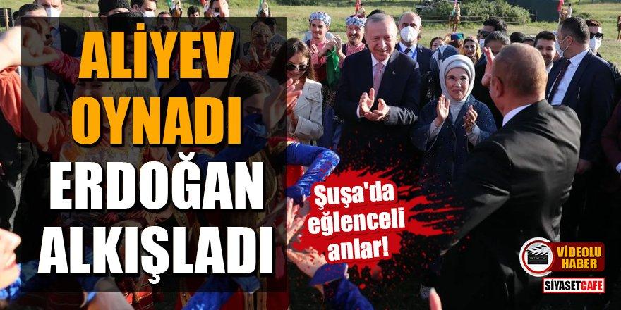 Şuşa'da eğlenceli anlar! Aliyev oynadı, Erdoğan alkışladı