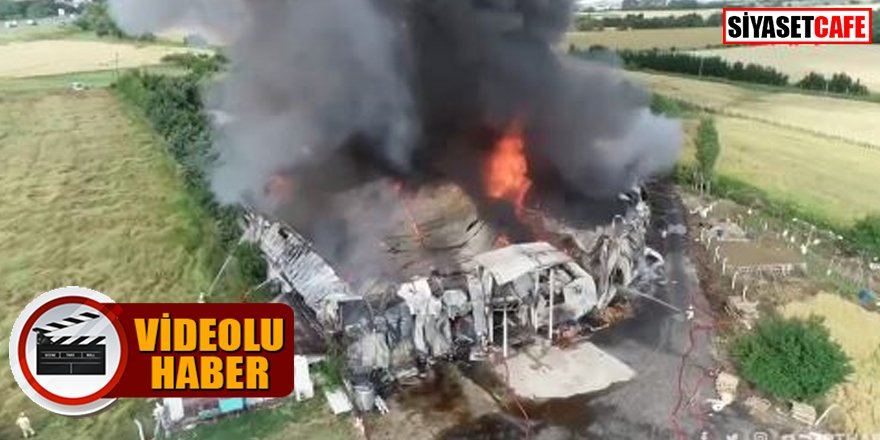 Meyve suyu ürünleri fabrikası alev alev yandı