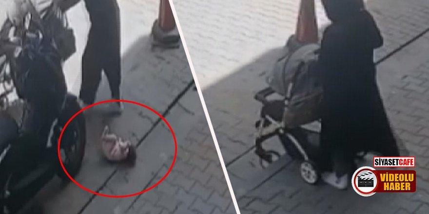 Suriyeli anne, arabadaki bebeğini yola düşürüp, üstüne bastı!