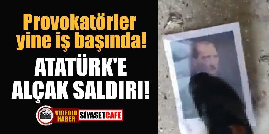 Provokatörler yine iş başında!Atatürk'e alçak saldırı