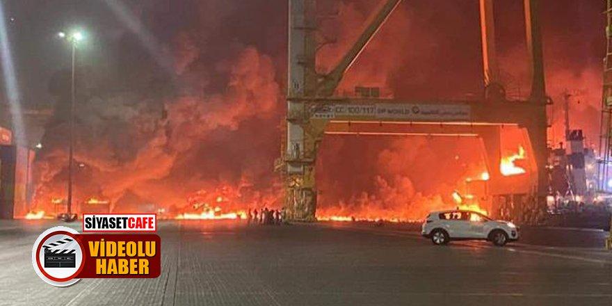 Dubai'de bulunan Cebel Ali Limanı'nda büyük patlama!