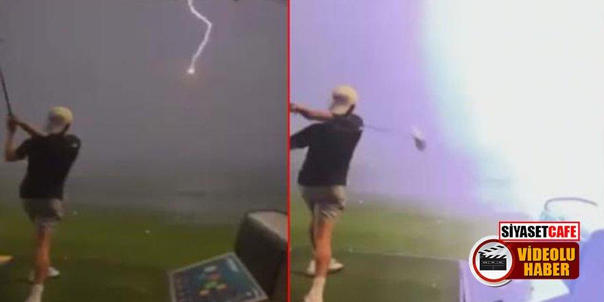 Havada uçan golf topuna yıldırım çarptı! İşte o anlar