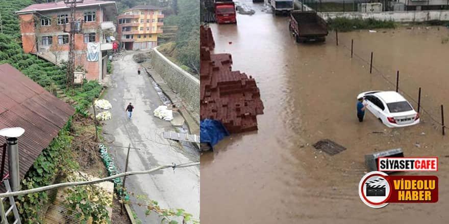Rize'de sel felaketini yaşayan vatandaşların yaşadığı korku kameralarda