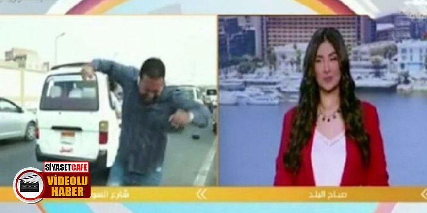 Canlı yayında ilginç kaza!Muhabire motosiklet çarptı