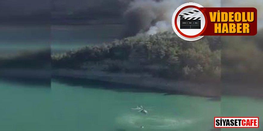 Yangın söndürme helikopterleri alevlerle böyle mücadele ediyor