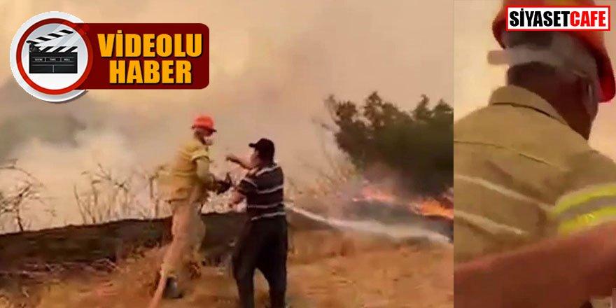 Su içmeyi reddedip yangına kahramanca müdahale etti