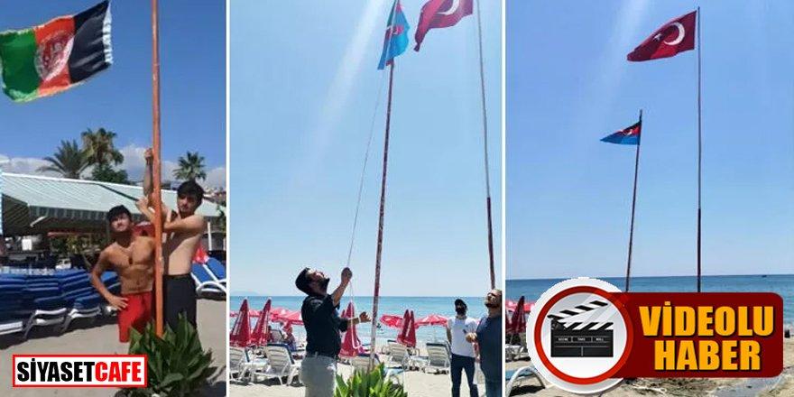 Ülkü Ocakları göndere çekilen Afgan bayrağını indirdi -video-